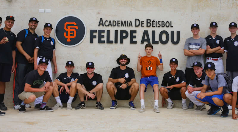 gba players out the front of the SF giants baseball academy in the dominican republic
