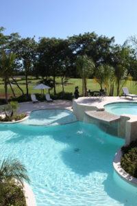 Outdoor communal pool at the Casa Del Lago luxury condominium.