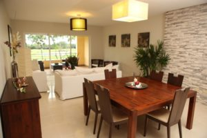 Communal living room and dining area at the Casa Del Lago luxury condominium.