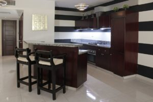 Communal bar and kitchen at the Casa Del Lago luxury condominium.