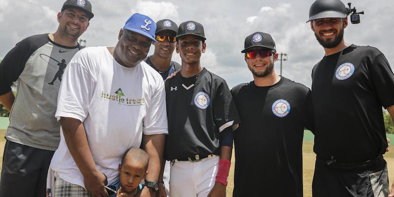 Isaias Franco (GBA founder), Yorkis Perez (MLB coach), Pedro Liriano (MLB coach), Yorkis Perez Jr., Caleb Parker (GBA coach), Billy Jack Ryan (GBA coach)